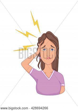 Women With Stress Symptom - Headache. Emotional Or Mental Health Problem, Stress. Cartoon Character