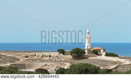 A View Of The Lighthouse And The Odeon Fragment In Paphos, Cyprus.