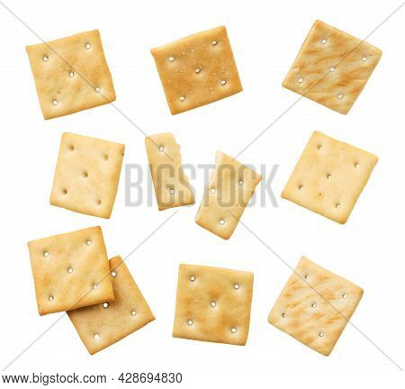 Set Of Crackers Close-up On A White Background, Cut Crackers. Isolated