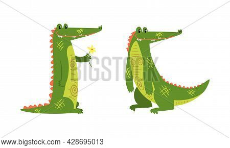 Funny Green Crocodile With Toothy Smile Standing And Holding Flower Vector Set