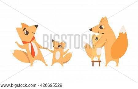 Loving Fox Mom And Dad Character With Its Cub Holding Hand And Embracing Vector Set
