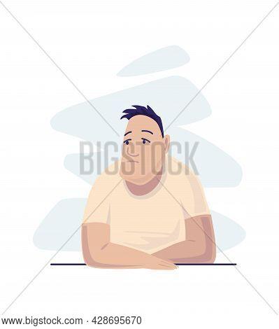 Depressed People. Sad Man Seating. Lonely Teenager. Symbol Of Sorrow, Sadness And Mental Disorder. U