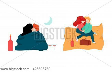 Happy Romantic Couple Embracing Sitting On Sand And Kissing Each Other Vector Set