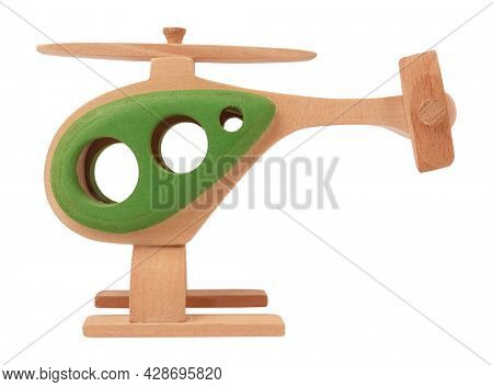 Colorful wooden toy chopper or helicopter isolated on white background. Childhood memory concept