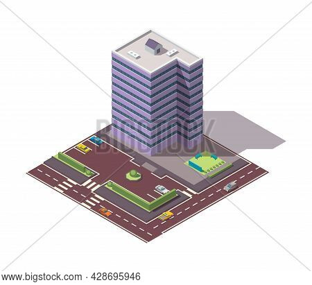 Offices Isometric. Architecture Building Facade Of Business Center. Infographic Element. Architectur