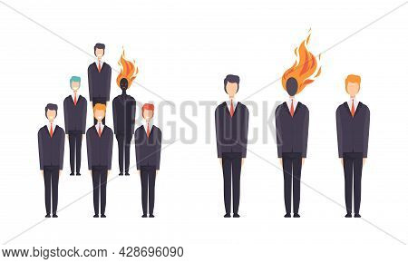 Burn Out Stressed Man Feeling Fatigue And Exhaustion Standing In Row Of Candidates Vector Set