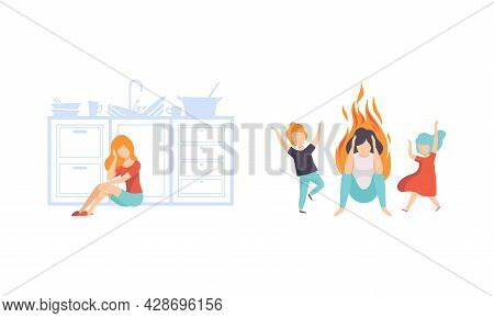 Burn Out Stressed Woman Feeling Fatigue And Exhaustion Sitting On The Floor With Naughty Children Ru