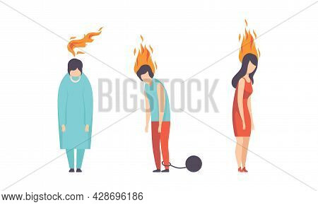 Burn Out Stressed Man And Woman Feeling Fatigue And Exhaustion Vector Set