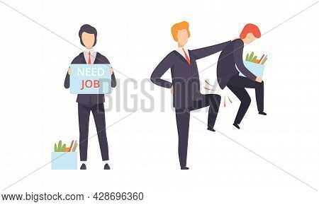 Man Character Searching For Job Standing With Banner And Fired From His Job Place Vector Set