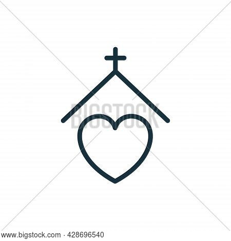 Homeless Shelter Line Icon. Volunteer House For Help Homelessness People Or Animal Linear Pictogram.