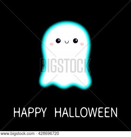 Happy Halloween. Flying Ghost Spirit. Scary White Glowing Ghosts. Neon Blue Effect. Cute Cartoon Spo