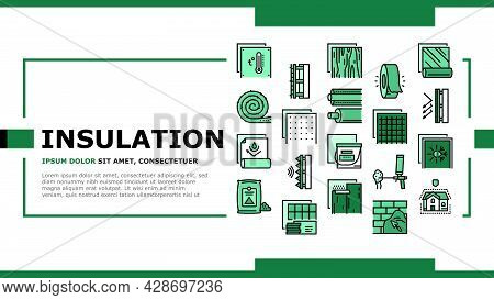 Insulation Building Landing Web Page Header Banner Template Vector. Insulation Roll Material And Woo