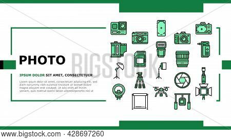 Photography Device Landing Web Page Header Banner Template Vector. Mobile Phone And Photo Camera, Go