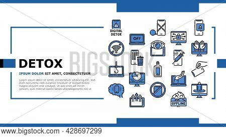 Digital Device Detox Landing Web Page Header Banner Template Vector. Wifi And Smartphone Crossed Out