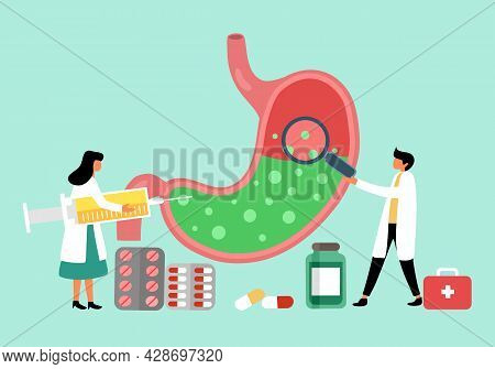 Human Stomach Full Of Gastric Acid. Doctor With Stomach Acid Reflux Treatment.