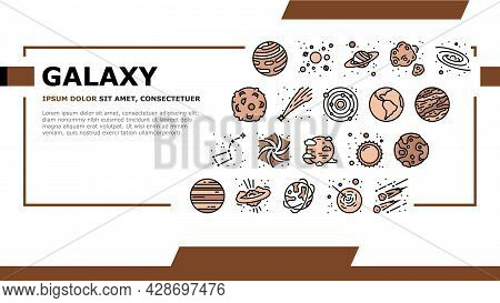 Galaxy System Space Landing Web Page Header Banner Template Vector. Milky Way Galaxy Planet And Sun,