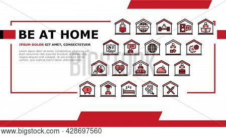 Home Training Course Landing Web Page Header Banner Template Vector. Cooking And Painting, Finance A