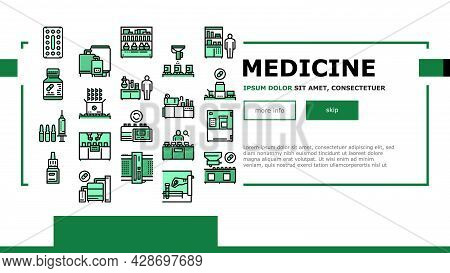 Medical Drugs Production Factory Icons Set Vector. Pharmaceutical Production Medicine Production Mac