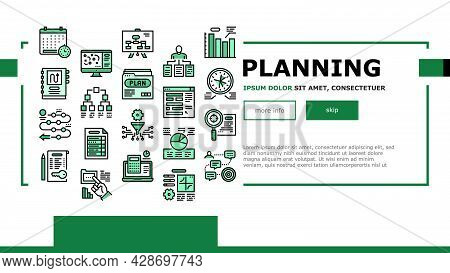 Planning Work Process Landing Web Page Header Banner Template Vector. Planning Business Project And