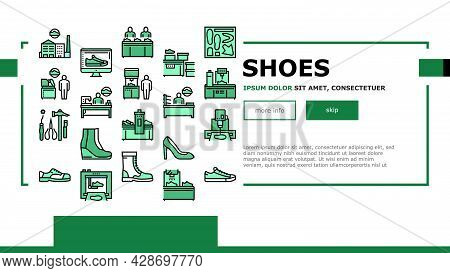 Shoes Repair Service Landing Web Page Header Banner Template Vector. Shoes Fixing And Production Equ