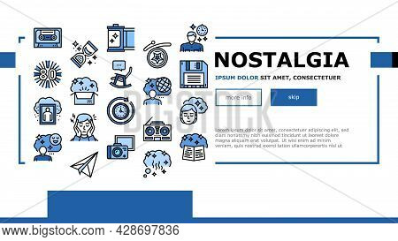 Nostalgia And Memory Landing Web Page Header Banner Template Vector. Retro Music Cassette And Photo