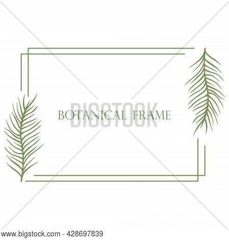 Horizontal Rectangular Frame With Sheets Vector Illustration. Rustic Simple Natural Rim. Deciduous T