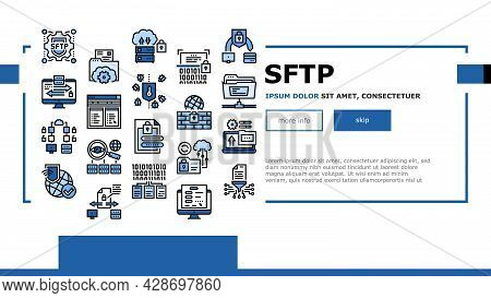 Ssh, Sftp File Transfer Protocol Icons Set Vector. Security And Protection Data Server And Informati