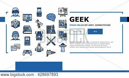 Geek, Nerd And Gamer Landing Web Page Header Banner Template Vector. Chess And Video Game, Mathemati
