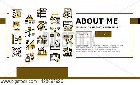 About Me Presentation Landing Web Page Header Banner Template Vector. Positive And Negative Human Tr
