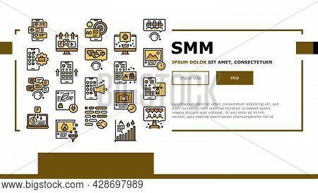 Smm Media Marketing Landing Web Page Header Banner Template Vector. Robotic Winding Up Likes And Vie