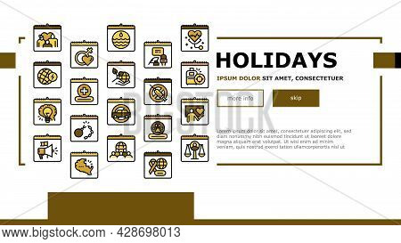 World Holidays Event Landing Web Page Header Banner Template Vector. Global Family And Women Day, To
