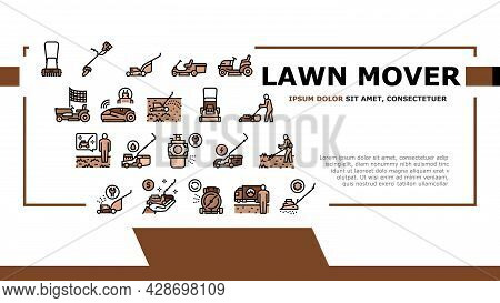 Lawn Mower Equipment Landing Web Page Header Banner Template Vector. Electrical, Gasoline And Smart