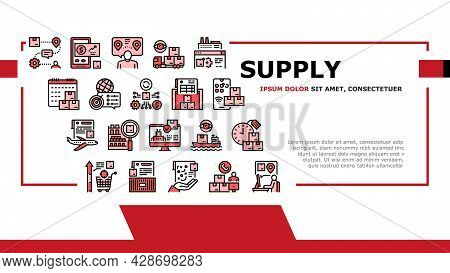 Supply Chain Management System Icons Set Vector. Optimization Of Supply Chain And Automation, Demand