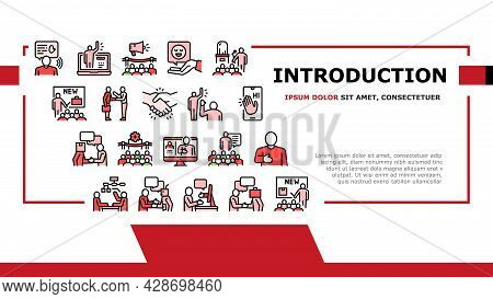 Introduction Speech Landing Web Page Header Banner Template Vector. New Product And Business Case Pr