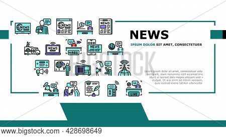 News Broadcasting Landing Web Page Header Banner Template Vector. Reporter Interview And Television,