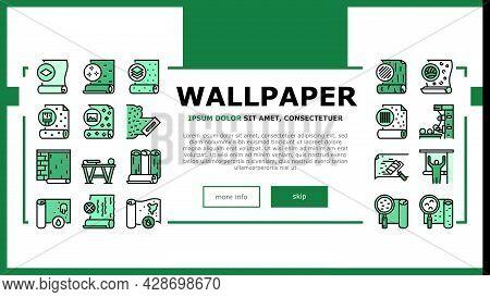Wallpaper Interior Landing Web Page Header Banner Template Vector. Waterproof And Paper, Vinyl And N
