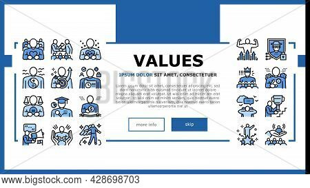 Values Human Life Landing Web Page Header Banner Template Vector. Love And Friendship, Health And St