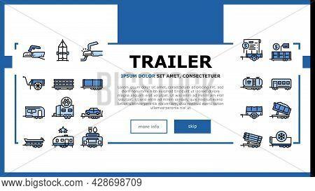 Trailer Transport Landing Web Page Header Banner Template Vector. Trailer For Transportation Animal