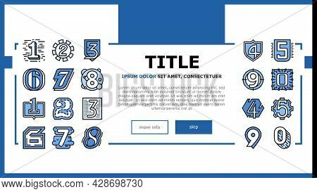 Numbers Numeral Title Landing Web Page Header Banner Template Vector. One Two Three Four Five Six Se