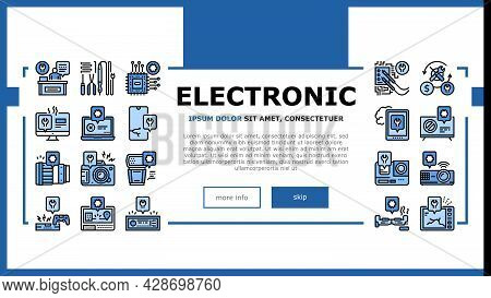 Electronic Repair Landing Web Page Header Banner Template Vector. Photo And Video Camera, Computer C
