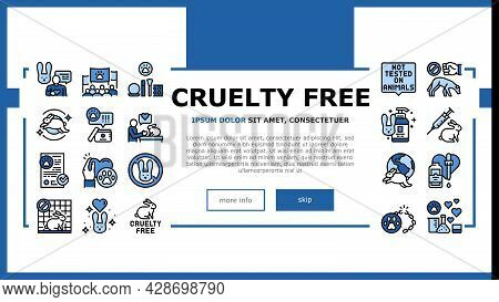 Cruelty Free Animals Landing Web Page Header Banner Template Vector. Not Tested On Rabbit And Dogs,