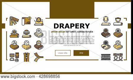 Drapery Shop Sale Landing Web Page Header Banner Template Vector. Felt And Velvet, Acrylic And Atlas