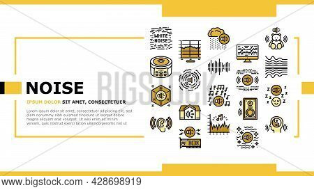 White Noise Hearing Landing Web Page Header Banner Template Vector. Speaker Dynamic And Audio Card,