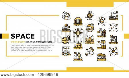 Space Base New Home Landing Web Page Header Banner Template Vector. Space Base Construction And Gree