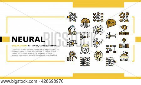 Neural Network And Ai Landing Web Page Header Banner Template Vector. Biological And Binary Neural N