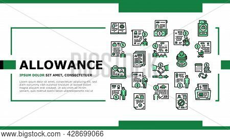 Allowance Finance Help Landing Web Page Header Banner Template Vector. Checking Status And Issue Of