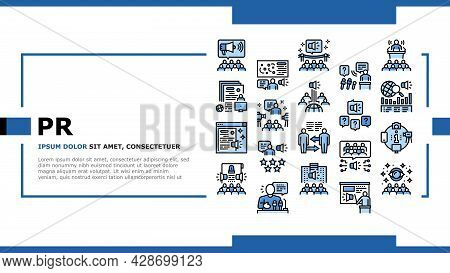 Pr Public Relations Landing Web Page Header Banner Template Vector. Pr Strategy And Events, Intervie