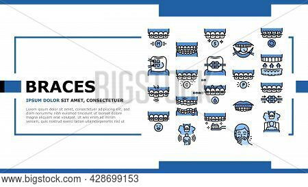 Tooth Braces Accessory Landing Web Page Header Banner Template Vector. Tooth Braces Installation And