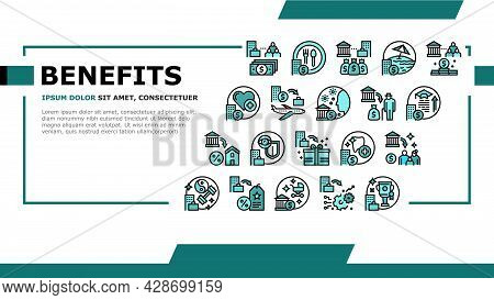 Benefits For Business Landing Web Page Header Banner Template Vector. Benefits For Employees And Soc