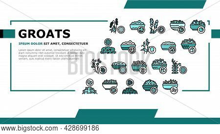 Groats Natural Food Landing Web Page Header Banner Template Vector. Amaranth And Artek, Rice And Cor